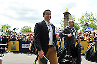 Bath Rugby Head Coach Mike Ford and the rest of the Bath team arrive at Twickenham Stadium. Aviva Premiership Final, between Bath Rugby and Saracens on May 30, 2015 at Twickenham Stadium in London, England. Photo by: Patrick Khachfe / Onside Images