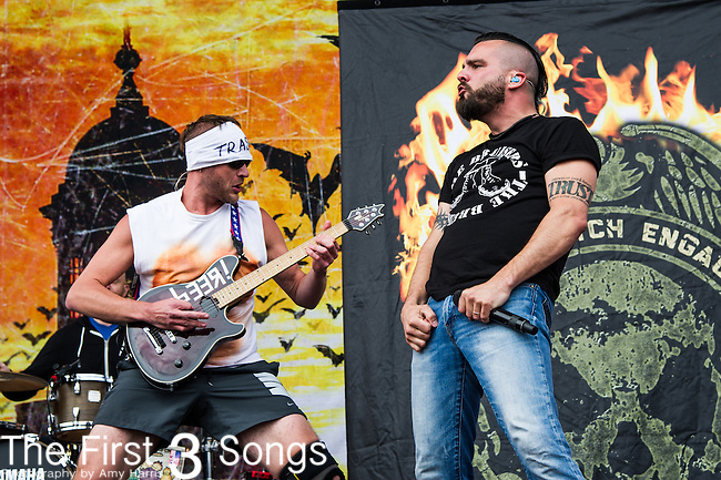 Jesse Leach and Adam Dutkiewicz of Killswitch Engage performs during the 2014 Rock On The Range festival at Columbus Crew Stadium in Columbus, Ohio.