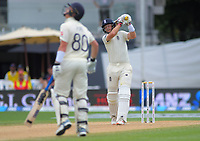Joe Root hits a six during day four of the international cricket 2nd test match between NZ Black Caps and England at Seddon Park in Hamilton, New Zealand on Friday, 22 November 2019. Photo: Dave Lintott / lintottphoto.co.nz
