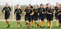 20180304 - LARNACA , CYPRUS :  Belgian team with Justine Vanhaevermaet , Yana Daniels , Maud Coutereels , Nicky Van Den Abbeele , Aline Zeler and Jana Coryn pictured during a Matchday -1 training from The Belgian Red Flames prior to their game against Austria , on Sunday 4 March 2018 at the Alpha Sports Grounds in Larnaca , Cyprus . This will be the third game in group B for Belgium during the Cyprus Womens Cup , a prestigious women soccer tournament as a preparation on the World Cup 2019 qualification duels. PHOTO SPORTPIX.BE | DAVID CATRY
