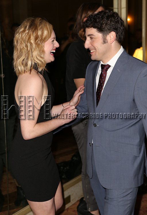 Jason Biggs and Elisabeth Moss attends the Broadway Opening Night press reception for 'The Heidi Chronicles'  at The Music Box Theatre on March 19, 2015 in New York City.