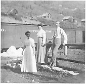 Three folks near RGS tracks in Rico.<br /> RGS  Rico, CO