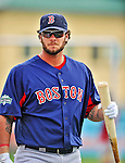 8 March 2012: Boston Red Sox catcher Jarrod Saltalamacchia awaits his turn in the batting cage prior to a Spring Training game against the St. Louis Cardinals at Roger Dean Stadium in Jupiter, Florida. The Cardinals defeated the Red Sox 9-3 in Grapefruit League action. Mandatory Credit: Ed Wolfstein Photo
