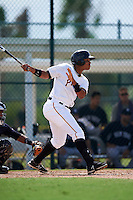 GCL Pirates designated hitter Jhoan Herrera (15) at bat during the first game of a doubleheader against the GCL Yankees 2 on July 31, 2015 at the Pirate City in Bradenton, Florida.  GCL Pirates defeated the GCL Yankees 2 2-1.  (Mike Janes/Four Seam Images)