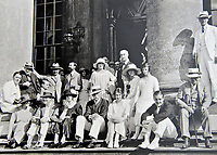 BNPS.co.uk (01202 558833)<br /> Pic: BlenheimPalace/BNPS<br /> <br /> A snapshot of one of the house parties at Blenheim in the 1920's. (Churchill 2nd left)<br /> <br /> Let's Misbehave - A fascinating insight into the heady world of the upper classes in the roaring twenties has opened at Blenheim Palace.<br /> <br /> The 9th Duke of Marlborough and his second wife, American intellectual Gladys Deacon, were lavish hosts at the baroque Oxfordshire Palace.<br /> <br /> Their frequent house parties in a time of great social, artistic and political change were attended by friends as diverse as Winston Churchill, Edith Sitwell, Jacob Epstein and Bloomsbury set founders Lytton Strachey and Virginia Woolf.<br /> <br /> The exhibition showcases their lavish lifestyles in a series of scenes within the Palaces elegant State Rooms.<br /> <br /> Actors portraying the leading characters interact with the visiting public to give a flavour of the famously decadent decade.