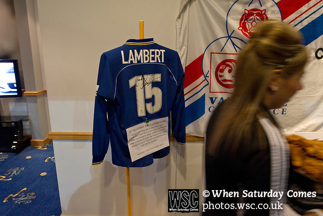 Macclesfield Town 0 Gateshead 4, 22/02/2013. Moss Rose, Football Conference. A signed football shirt worn by former player Rickie Lambert, now of Southampton, on display in the hospitality suite before Macclesfield Town host Gateshead at Moss Rose in a Conference National fixture. The visitors from the North East who were in the relegation zone, shocked Macclesfield with four first half goals and won 4-0 in front of 1467 fans. Both teams were former members of the Football league, with Macclesfield dropping out in 2012. Photo by Colin McPherson.