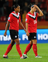 Marie-Eve Nault (r) and Candace Chapman of team Canada react during the FIFA Women's World Cup at the FIFA Stadium in Dresden, Germany on July 5th, 2011.