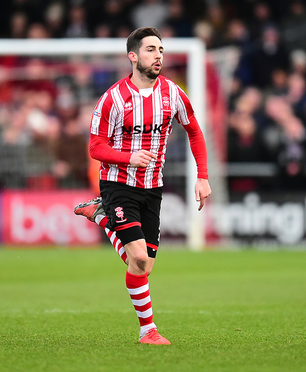 Lincoln City's Tom Pett<br /> <br /> Photographer Andrew Vaughan/CameraSport<br /> <br /> The EFL Sky Bet League Two - Lincoln City v Grimsby Town - Saturday 19 January 2019 - Sincil Bank - Lincoln<br /> <br /> World Copyright &copy; 2019 CameraSport. All rights reserved. 43 Linden Ave. Countesthorpe. Leicester. England. LE8 5PG - Tel: +44 (0) 116 277 4147 - admin@camerasport.com - www.camerasport.com