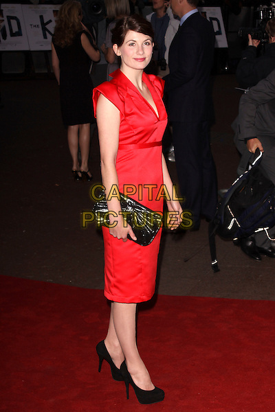 JODIE WHITTAKER .'The Kid' UK premiere held at the Odeon West End, Leicester Square, London, England..September 15th, 2010.full length red collar cap sleeve dress black shoes clutch bag .CAP/AH.©Adam Houghton/Capital Pictures...
