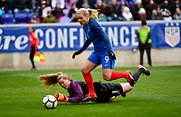 Harrison, N.J. - Sunday March 04, 2018: Eugénie Le Sommer, Alyssa Naeher during a 2018 SheBelieves Cup match between the women's national teams of the United States (USA) and France (FRA) at Red Bull Arena.
