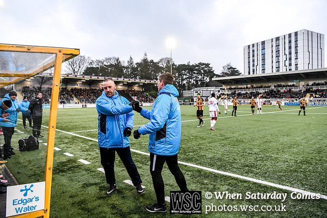 Maidstone United 1 Sutton United 0, 17/03/2018. The Gallagher Stadium, National League. Attendance: 2,065. Manager Jay Saunders and Assistant Manager Nicky Southall celebrate at the final whistle. Photo by Simon Gill.