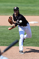 Erie SeaWolves pitcher Ryan Robowski (8) delivers a pitch during a game against the Akron RubberDucks on May 18, 2014 at Jerry Uht Park in Erie, Pennsylvania.  Akron defeated Erie 2-1.  (Mike Janes/Four Seam Images)