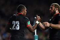 Semesa Rokoduguni of England celebrates his try with team-mate Chris Robshaw. Old Mutual Wealth Series International match between England and Argentina on November 11, 2017 at Twickenham Stadium in London, England. Photo by: Patrick Khachfe / Onside Images