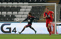 Pictured: Swansea goalkeeper Kristoffer Nordfelt Tuesday 25 August 2015<br /> Re: Capital One Cup, Round Two, Swansea City v York City at the Liberty Stadium, Swansea, UK.