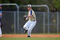 Mount St. Mary's Mountaineers shortstop Patrick Causa (16) throws to first base during a game against the Ball State Cardinals on March 9, 2019 at North Charlotte Regional Park in Port Charlotte, Florida.  Ball State defeated Mount St. Mary's 12-9.  (Mike Janes/Four Seam Images)