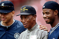 Alex Rodriguez and Ken Griffey,jr of the Seattle Mariners pose with Ernie Banks at Anaheim Stadium in Anaheim,California during the 1996 season. (Larry Goren/Four Seam Images)