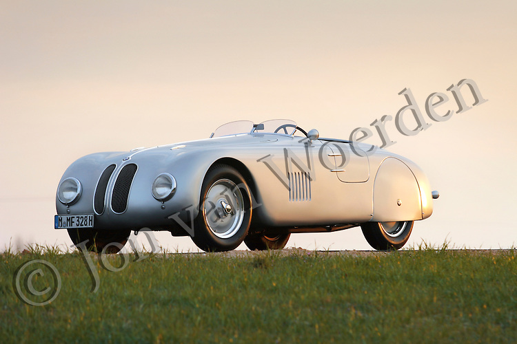 "Sunset view of the only surviving BMW 328MM ""Superleggera"" bodied by Milan's Carrozzeria Touring for the 1941 Berlin-to-Rome road race which never took place."