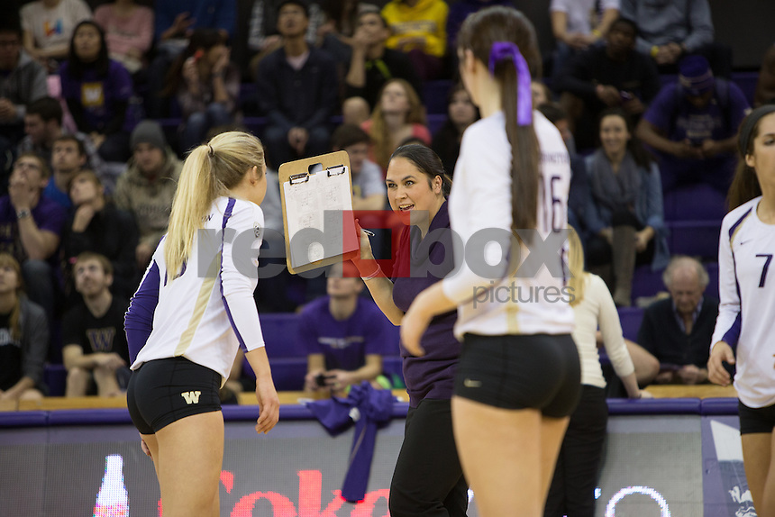 The University of Washington volleyball team plays the Colorado Buffaloes at Alaska Airlines Arena on Sunday, November 3, 2013 (Photo by Max Waugh/Red Box Pictures)