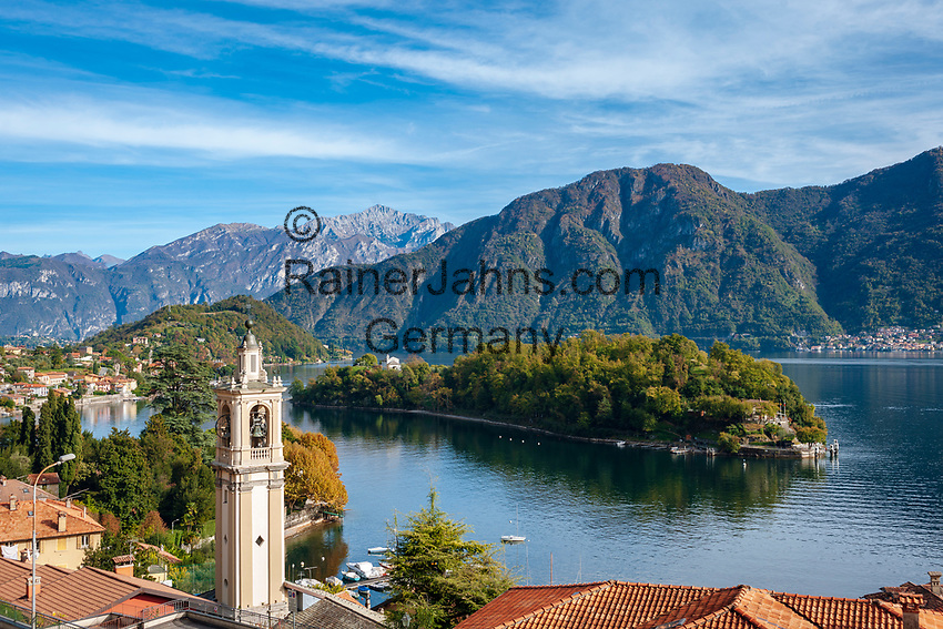 Italy, Lombardia, Sala Comacina: village on the West Banks of Lake Como with parish church San Bartolomeo, a small ferry connects with island Isola Comacina, the only island in Lake Como | Italien, Lombardei, Sala Comacina: Dorf an der Westkueste des Comer Sees mit der Pfarrkirche San Bartolomeo, von hier bringt eine kleine Faehre Besucher auf die vorgelagerte Insel Isola Comacina, der einzigen Insel im Comer See