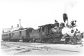 3/4 engineer's-side view of C&amp;S #6 with a two-car passenger train.<br /> C&amp;S  Leadville, CO