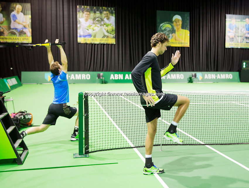Februari 09, 2015, Netherlands, Rotterdam, Ahoy, ABN AMRO World Tennis Tournament, Warming up Robin Haase - Andy Murray<br /> Photo: Tennisimages/Henk Koster