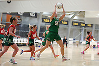 01.10.2015 Tokoroa's Tyla Chase and Manawatu's Victoria Miller in action during the Manawatu v Tokoroa netball match at the Netball NZ National Champs played at the ASB Sports Centre in Wellington. Mandatory Photo Credit ©Michael Bradley.