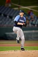 Trenton Thunder starting pitcher Ryan Bollinger (28) delivers a pitch during the second game of a doubleheader against the Bowie Baysox on June 13, 2018 at Prince George's Stadium in Bowie, Maryland.  Bowie defeated Trenton 10-1.  (Mike Janes/Four Seam Images)