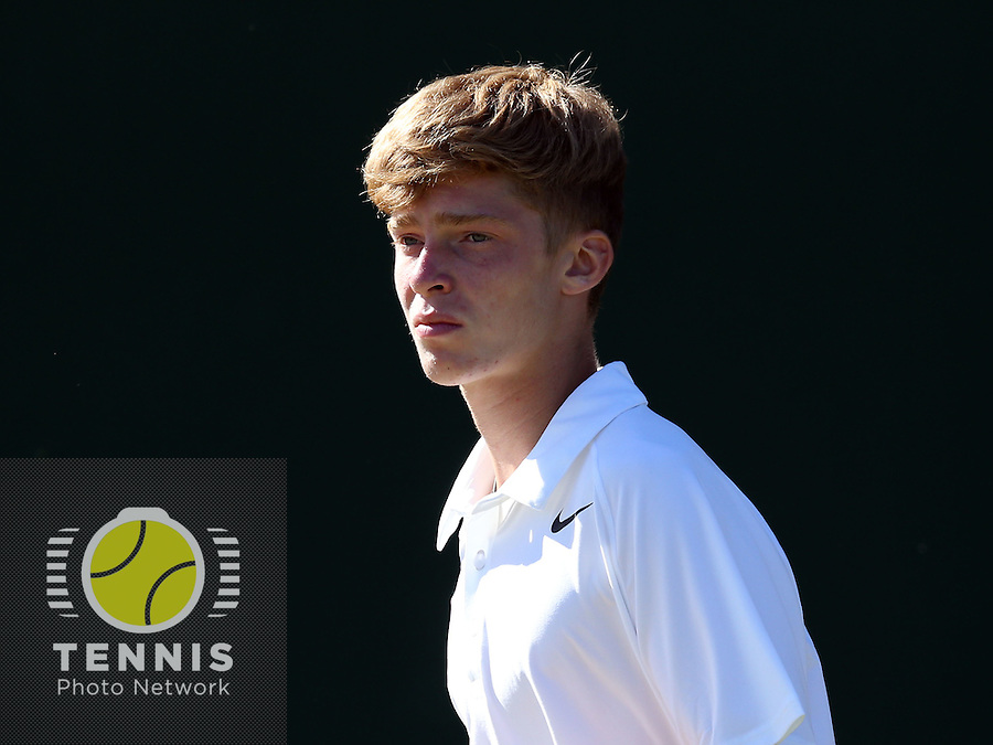 ANDREY RUBLEV (RUS), <br /> <br /> The Championships Wimbledon 2014 - The All England Lawn Tennis Club -  London - UK -  ATP - ITF - WTA-2014  - Grand Slam - Great Britain -  3rd.July 2014<br /> <br /> <br /> © J.Hasenkopf / Tennis Photo Network