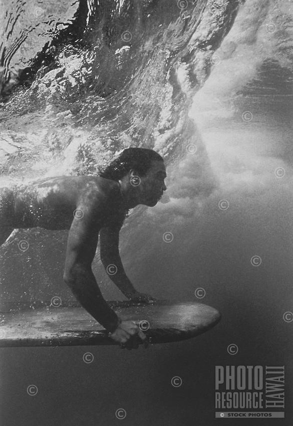 Hawaiian Surfer with Ancient Board