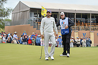 Sergio Garcia (ESP) after sinking his birdie putt on 18 during Round 2 of the Valero Texas Open, AT&amp;T Oaks Course, TPC San Antonio, San Antonio, Texas, USA. 4/20/2018.<br /> Picture: Golffile | Ken Murray<br /> <br /> <br /> All photo usage must carry mandatory copyright credit (&copy; Golffile | Ken Murray)