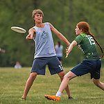 21 May 2016: The Vermont Commons School Flying Turtles take on Hartsbrook High School on the first day of the Pioneer Valley Ultimate Disk Invitational Tournament at the Oxbow Marina Fields in Northampton, Massachusetts. Hartsbrook edged out the Turtles 11-10 on a single, post-hardcap, scoring play. Mandatory Credit: Ed Wolfstein Photo *** RAW (NEF) Image File Available ***