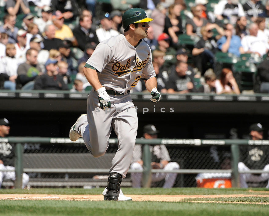 CONOR JACKSON, of the Oakland A's, in action during the A's game against the Chicago White Sox on April 13, 2011 at US Cellular Field in Chicago, Illinois.  The Oakland A's beat the Chicago White Sox 7-4.