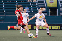 Rochester, NY - Friday June 17, 2016: Portland Thorns FC midfielder Tobin Heath (17), Western New York Flash midfielder McCall Zerboni (7) during a regular season National Women's Soccer League (NWSL) match between the Western New York Flash and the Portland Thorns FC at Rochester Rhinos Stadium.
