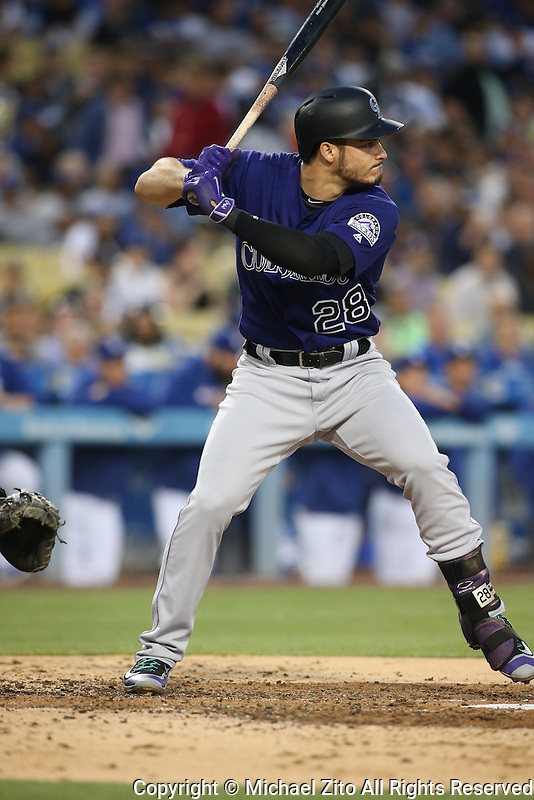 June 7, 2016, Los Angeles, CA: Colorado Rockies third baseman Nolan Arenado #28 during a MLB game played at Dodger Stadium between the colorado Rockies and Los Angeles Dodgers