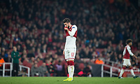 Olivier Giroud of Arsenal shows frustration during the UEFA Europa League group stage match between Arsenal and FC Red Star Belgrade at the Emirates Stadium, London, England on 2 November 2017. Photo by Andy Rowland.