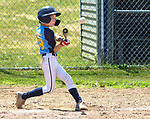 TORRINGTON, CT - 04 JULY 2020 - 070420JW06.jpg --  Torrington Little League Brewers #28 Luke Rogala launches the ball during opening day of play at Torrington Middle school's Colangelo Fields Saturday afternoon. Jonathan Wilcox Republican-American