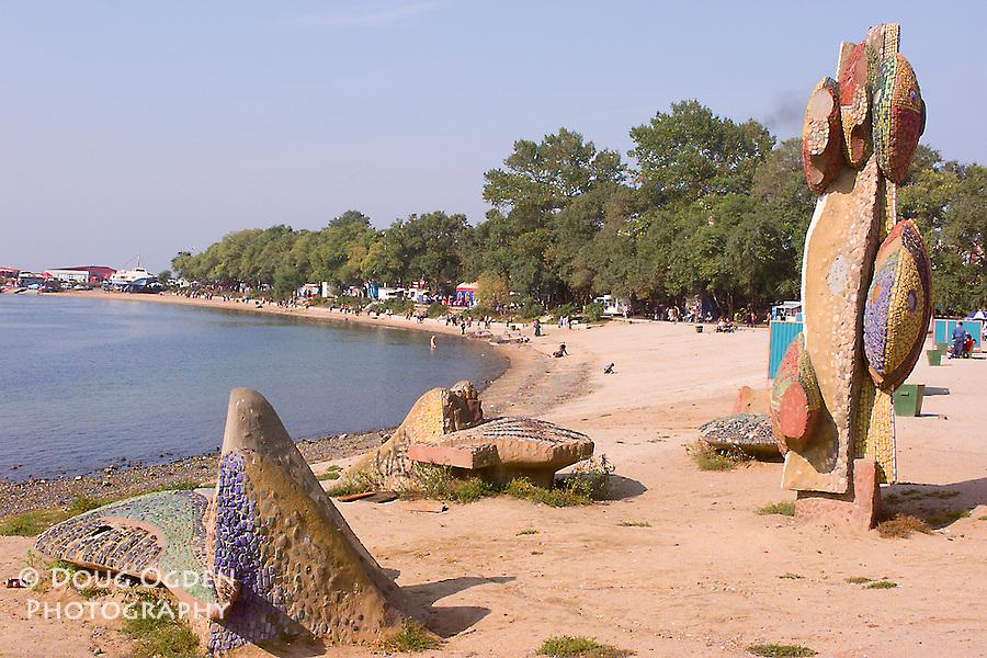 Recreation area at Sportivnaya Beach with tiled art figures, Vladivostok, Russia