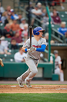 Buffalo Bisons Reese McGuire (7) hits a single during an International League game against the Rochester Red Wings on May 31, 2019 at Frontier Field in Rochester, New York.  Rochester defeated Buffalo 5-4 in ten innings.  (Mike Janes/Four Seam Images)