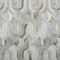 Kasbah, a stone waterjet mosaic, shown in honed Angora and Cashmere.<br />