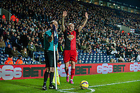 WEST BROMWICH, ENGLAND - FEBRUARY 11: Jonjo Shelvey of Swansea City  prepares to cross the ball in during the Premier League match between West Bromwich Albion and Swansea City at The Hawthorns on February 11, 2015 in West Bromwich, England. (Photo by Athena Pictures/Getty Images)
