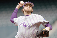 TCU Horned Frog starting pitcher Steven Maxwell against the Texas Tech Red Raiders on Friday March 5th, 2100 at the Astros College Classic in Houston's Minute Maid Park.  (Photo by Andrew Woolley / Four Seam Images)
