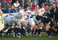 England's Jonathan Fisher sets up a drive during the Division A U19 World Championship match at Ravenhill, Belfast.