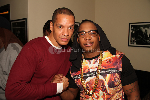 NEW YORK, NY - DECEMBER 18: Peter Gunz and Ja Rule backstage at BB Kings on December 18, 2013 in New York City. Credit: Walik Goshorn/MediaPunch Inc.