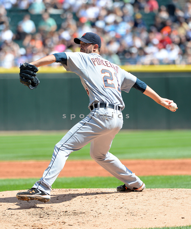 Detroit Tigers Rick Porcello (21) during a game against the Chicago White Sox on August 31, 2014 at US Cellular Field in Chicago, IL. The Tigers beat the White Sox 8-4.