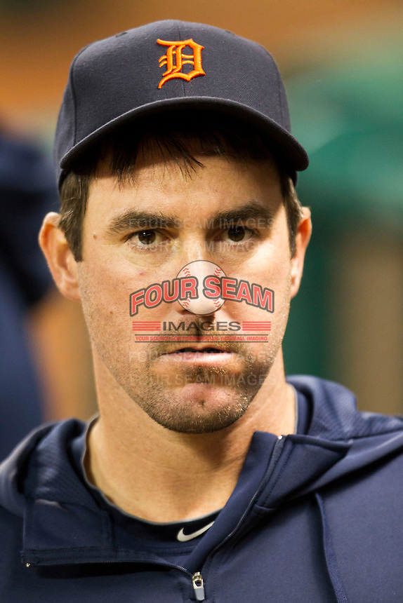 Detroit Tigers pitcher Justin Verlander in the dugout during the MLB baseball game against the Houston Astros on May 3, 2013 at Minute Maid Park in Houston, Texas. Detroit defeated Houston 4-3. (Andrew Woolley/Four Seam Images).