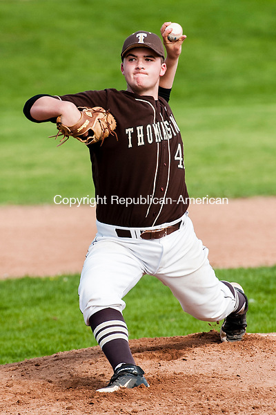 THOMASTON, CT-14 May 2014-051414EC07-  Thomaston's Blaise Russo pitches against Northwestern. The Golden Bears defeated the Highlanders, 5-4, in Thomaston Wednesday afternoon. Erin Covey Republican-American