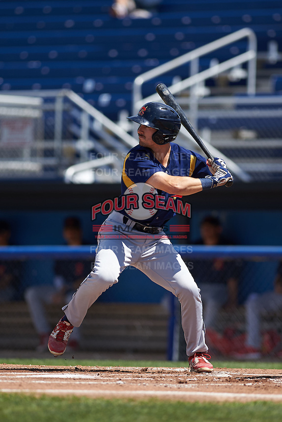 State College Spikes outfielder Michael Pritchard (5) at bat aduring a game against the Batavia Muckdogs August 23, 2015 at Dwyer Stadium in Batavia, New York.  State College defeated Batavia 8-2.  (Mike Janes/Four Seam Images)