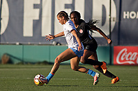 Portland, OR - Sunday March 11, 2018: Sarah Gorden, Ifeoma Onumonu during a National Women's Soccer League (NWSL) pre season match between the Portland Thorns FC and the Chicago Red Stars at Merlo Field.