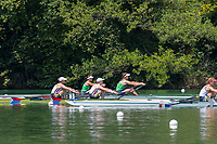 """Lucerne, SWITZERLAND, 14th July 2018, Saturday, Semi Final A/B2, """"USA W2X """"Bow, """" Meghan O'LEARY"""" and """" Ellen TOMEK"""",   FISA World Cup III Lake Rotsee, © Peter SPURRIER,"""