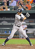 New York Yankees right fielder Ichiro Suzuki (31) bats in the tenth inning against the Baltimore Orioles at Oriole Park at Camden Yards in Baltimore, Maryland on Monday, May 20, 2013.  He later doubled and scored the winning run.  The Yankees won the game 6 - 4..Credit: Ron Sachs / CNP.(RESTRICTION: NO New York or New Jersey Newspapers or newspapers within a 75 mile radius of New York City)